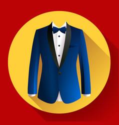Dark blue man suit icon vector