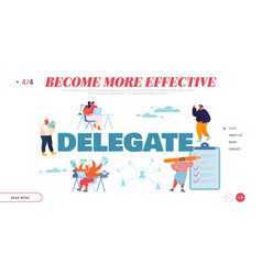 Delegate responsibilities landing page template vector