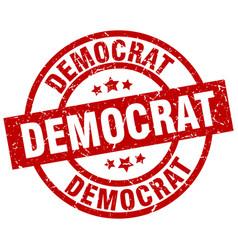 Democrat round red grunge stamp vector