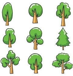 Doodle of cartoon tree set style vector