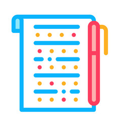 examination sheet with pen icon outline vector image