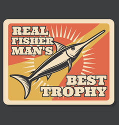 Fishing sport banner with fisherman trophy fish vector