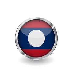 flag of laos button with metal frame and shadow vector image