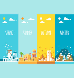 Flat design 4 seasons background vector
