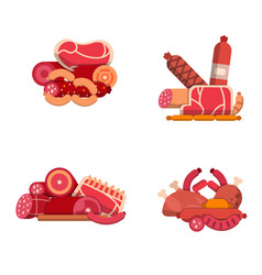 flat meat and sausages icons piles set vector image
