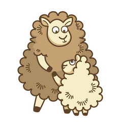 fluffy curly mother sheep hugs her baby lamb vector image