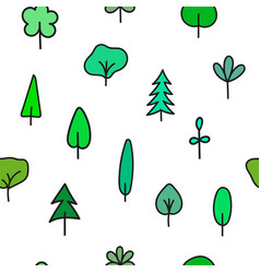 forest garden tree nature simple seamless pattern vector image