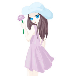 Girl used blue hat summer pink dress and hold vector