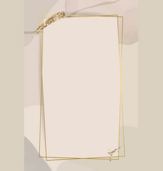 Gold frame on neutral watercolor background vector