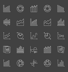 Graph and chart icons vector