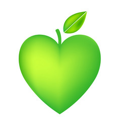 green apple heart isolated on white background vector image