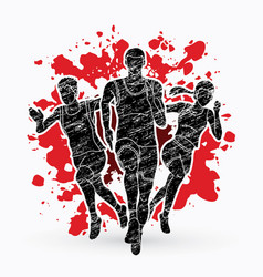 Group of marathon runner people running vector