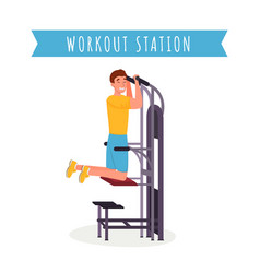 guy using workout station flat vector image
