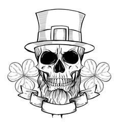 hand drawn angry skull of leprechaun vector image