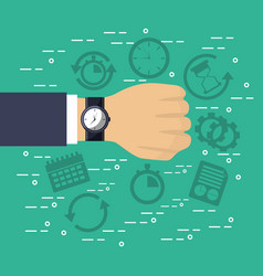 hand with wrist watch plan time service vector image