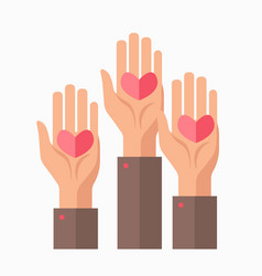 hands and hearts blood donation charity vector image