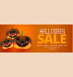 happy halloween festival sale banner with three vector image