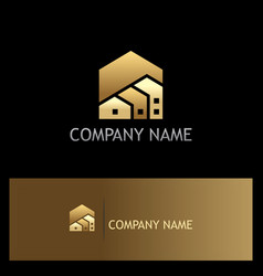 House realty shape gold logo vector