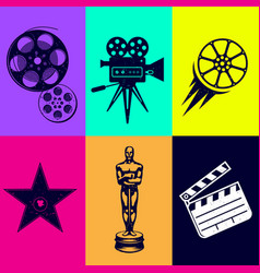 icons set movies camera star award film clapper vector image