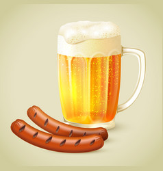 Light beer and grilled sausage emblem vector