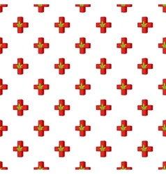 Marijuana leaf with a red cross pattern vector