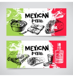 Mexican traditional food menu Hand drawn sketch vector image