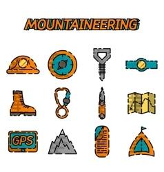 Mountaineering flat icon set vector