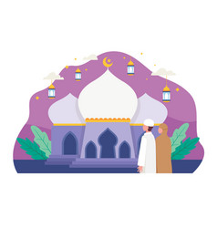 Muslim people going to mosque for prayer vector