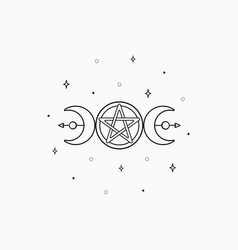 mystic boho logo design elements with moon stars vector image