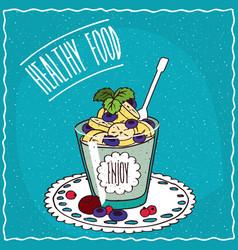Natural yogurt with banana and blueberry vector