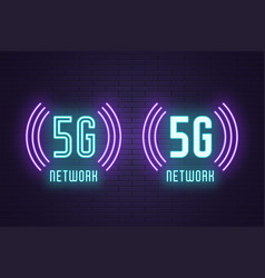 Neon composition set 5g network technology vector