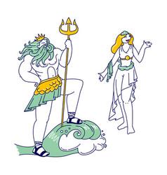 Olympic gods poseidon or neptune wearing crown vector