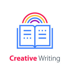 Open book creative writing and storytelling vector