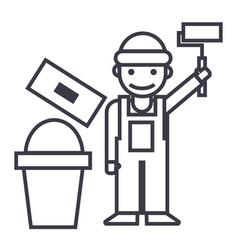 painterbuilder line icon sign vector image