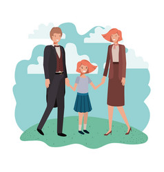 parents couple with daugether in landscape vector image