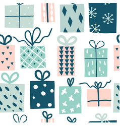 party presents doodle colorful seamless pattern vector image