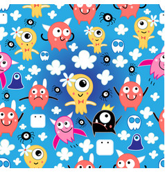 pattern funny monsters vector image