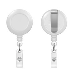 Realistic 3d white round reel holder clip vector