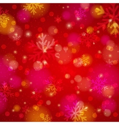 Red background with snowflake and bokeh vector