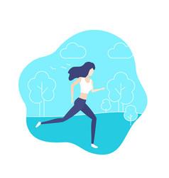 running girl in park vector image