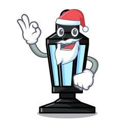 santa street lamp mascot cartoon vector image