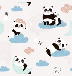 seamless pattern with cute sleeping pandas moon vector image