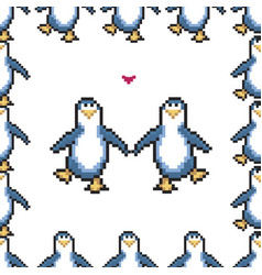 seamless pattern with penguins in love cute pixel vector image