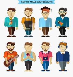 Set male professions meteorologist barber vector