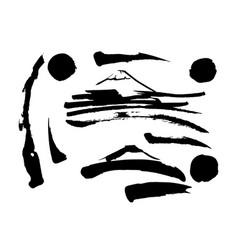 set of black brush strokes grunge style design vector image