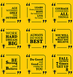 Set of motivational quotes about courage vector image