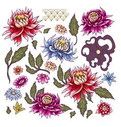Set of painted flowers asters japanese style vector