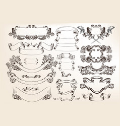 set of swirl elements for calligraphic design vector image