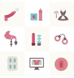 Sex related set of flat icons vector