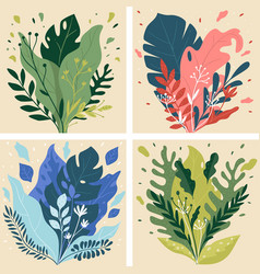 shrubs or bushes with lush foliage and blooming vector image